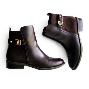 Tommy Hilfiger Brown Gold Ankle Zip Booties